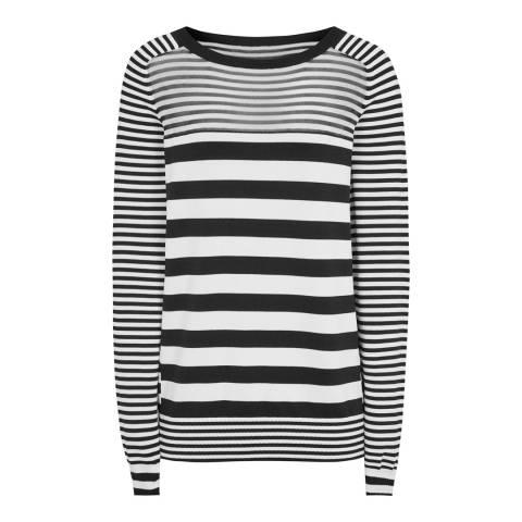 Reiss Black/White Stripe Marlow Jumper