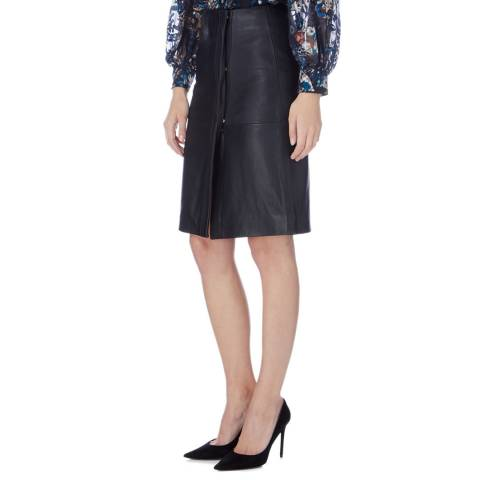 Reiss Black Abby Soft Leather Skirt