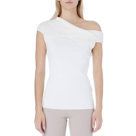 Reiss White Indigo Knit Top