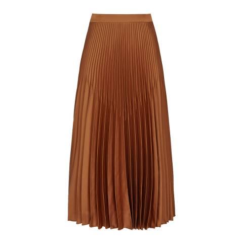 Reiss Bronze Isidora Pleat Skirt