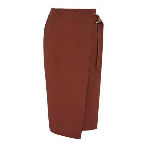 Reiss Rust Larkby Wrap Skirt
