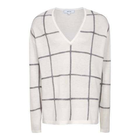 Reiss White Check Alegria Fine Knit Jumper