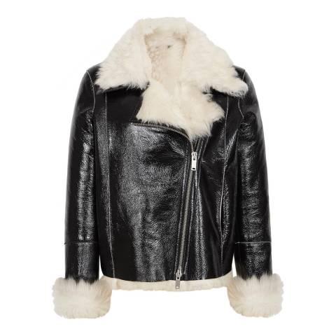 Reiss Black Sera Sheepskin Patent Jacket