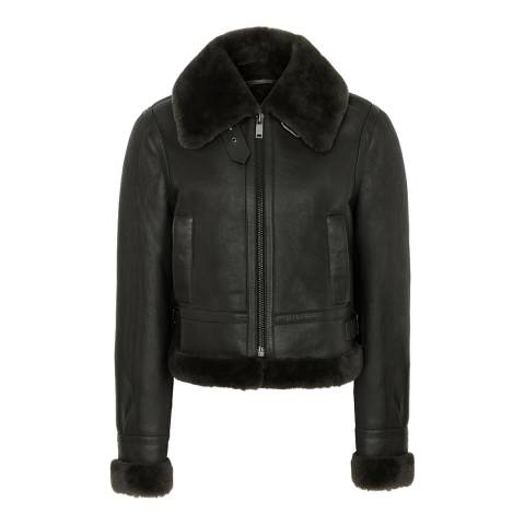 Reiss Khaki Roni Cropped Jacket