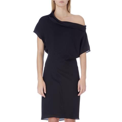 Reiss Black Camila Asymmetric Dress
