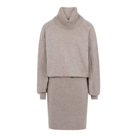 Reiss Beige Cyra Roll Neck Dress