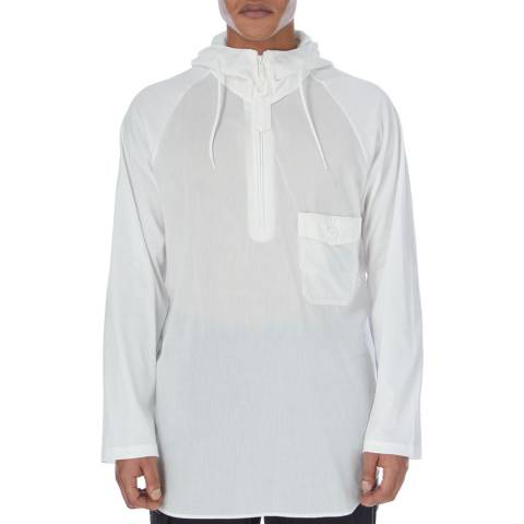 adidas Y-3 Core White Hooded Curved Hem Top