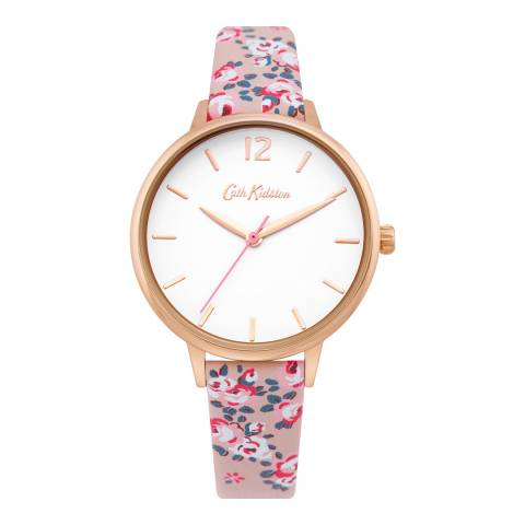 Cath Kidston Pink Floral Leather Strap Watch