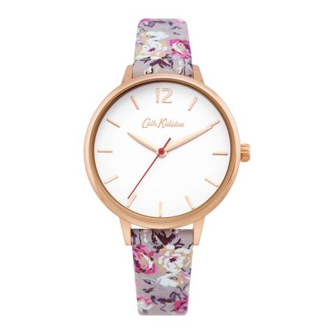 Cath Kidston Grey Floral Leather Strap Watch
