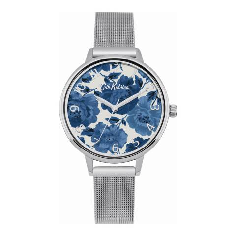 Cath Kidston Silver Floral Mesh Watch
