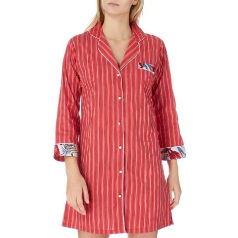 Cottonreal Red Oslo Tramline Stripe Cotton Nightshirt