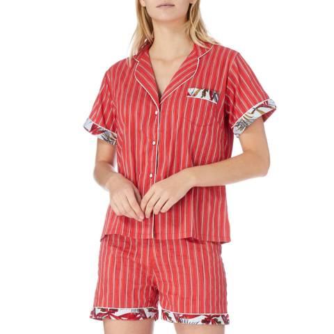 Cottonreal Red Oslo Tramline Stripe Cotton Shortie Pyjamas