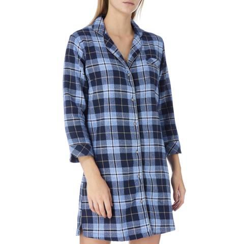 Cottonreal Blue Kiev Check Cotton Nightshirt