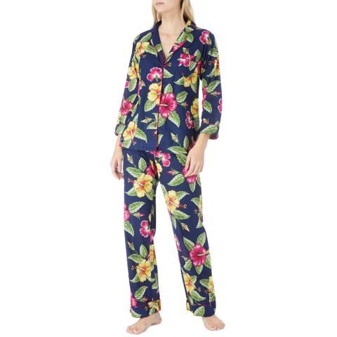 Cottonreal Multi Hibiscus Floral Cotton Pyjamas