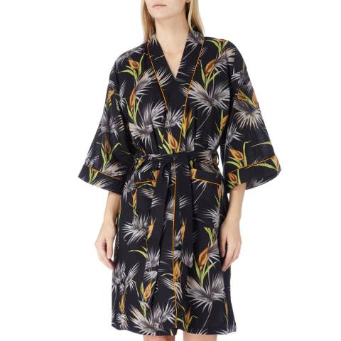 Cottonreal Black/Gold Lillie Dessert Floral Cotton Kimono
