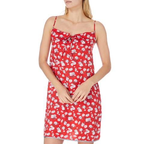 Cottonreal Red SuperSateen Lotus Blossom Frill Cotton Chemise