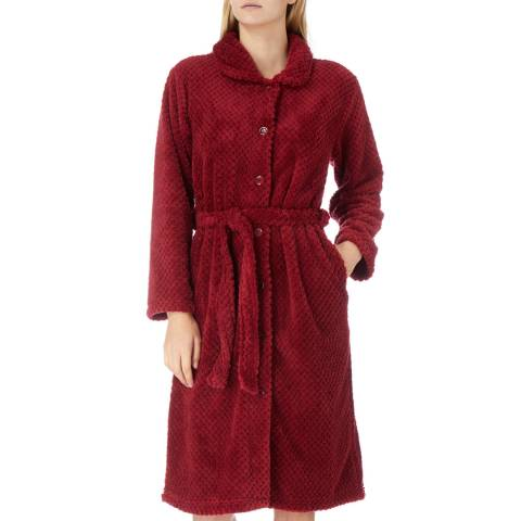 Cottonreal Wine Button & Tie Cotton Fleece Robe