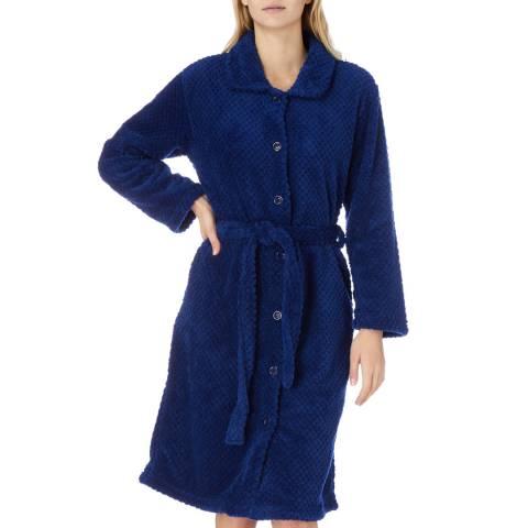 Cottonreal Royal Blue Button &Amp; Tie Cotton Fleece Robe