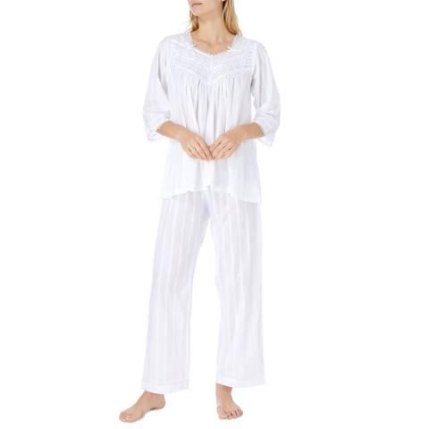 Cottonreal White Ralla Jacquard Stripe Cotton Pyjamas