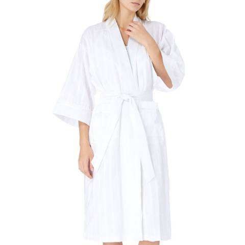 Cottonreal White Ramone Jacquard Stripe Cotton Kimono