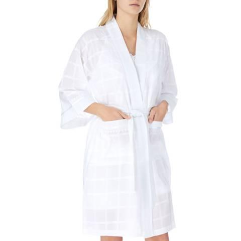 Cottonreal White Pearl Check Cotton Kimono