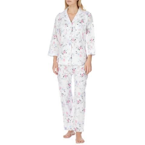 Cottonreal White Virginia English Rose Cotton Classic Pyjamas