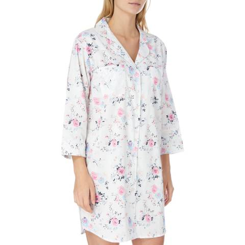 Cottonreal White Vivian English Rose Cotton Nightshirt
