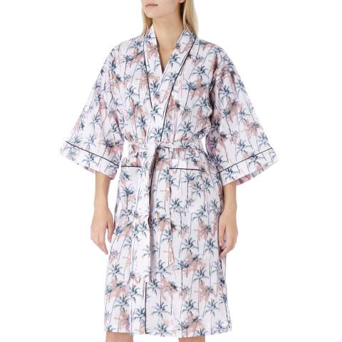 Cottonreal Pink/Multi Porto Tropical Palm Cotton Kimono