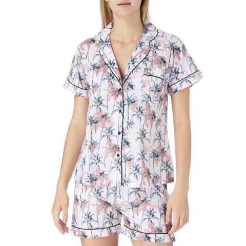 Cottonreal Pink/Multi Porto Tropical Palm Cotton Shortie Pyjamas