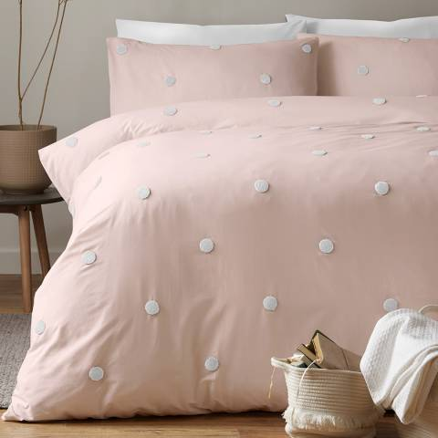 N°· Eleven Dot Garden King Duvet Cover Set, Pink/White