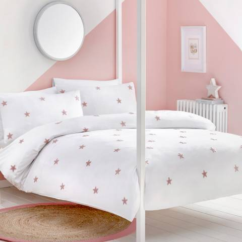 N°· Eleven Tufted Star Double Duvet Cover Set, White/Pink