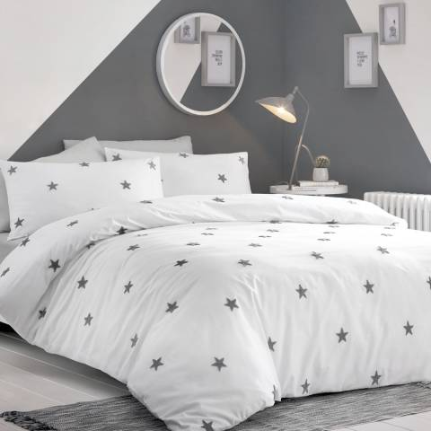N°· Eleven Tufted Star Double Duvet Cover Set, White/Grey