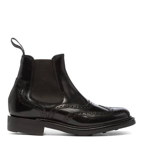 Joseph Cheaney & Sons Black Victoria Brogue Country Chelsea Boots