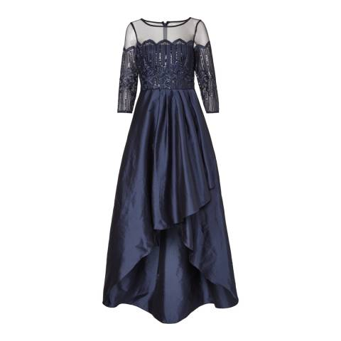 Adrianna Papell Midnight Long Embroidered Dress