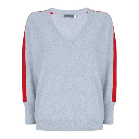 Mint Velvet Grey & Red V-Neck Batwing Knit