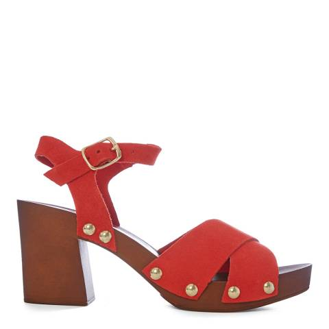 Carvela Red Bolder Clog Heeled Sandals