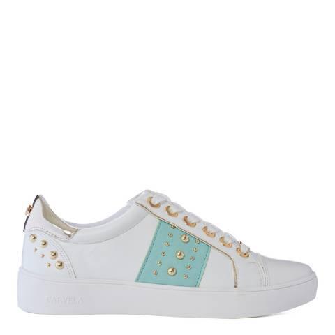 Carvela White & Pale Green Juju Sneakers