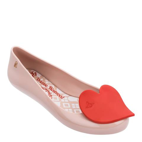 Vivienne Westwood for Melissa Blush/Red Space Love 23 Heart Ballet Pumps