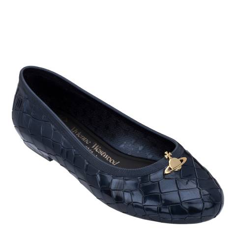 Vivienne Westwood for Melissa Navy Pearlized Margot Orb Ballet Pumps