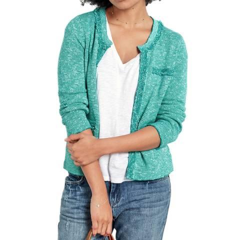 hush Spectra Green Cara Crop Knit Jacket