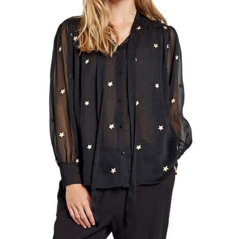 hush STARLA TIE BLOUSE - BLACK/GOLD
