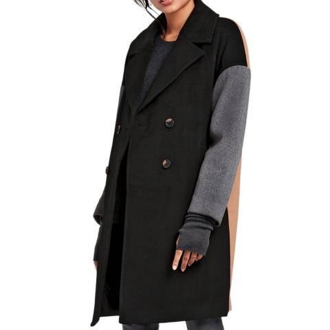 hush Black/Grey Colour block Coat
