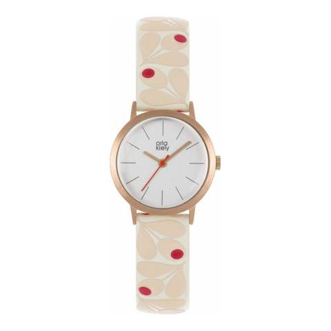 Orla Kiely Pale Pink Acorn Print Watch