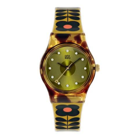 Orla Kiely Mustard Tortoise Plastic Strap Watch