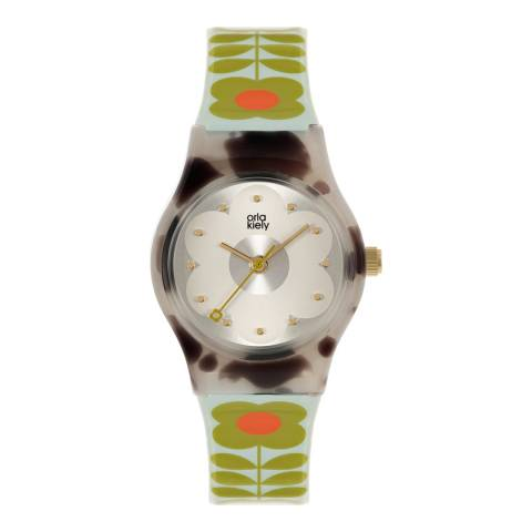 Orla Kiely Green Tortoise Plastic Strap Watch