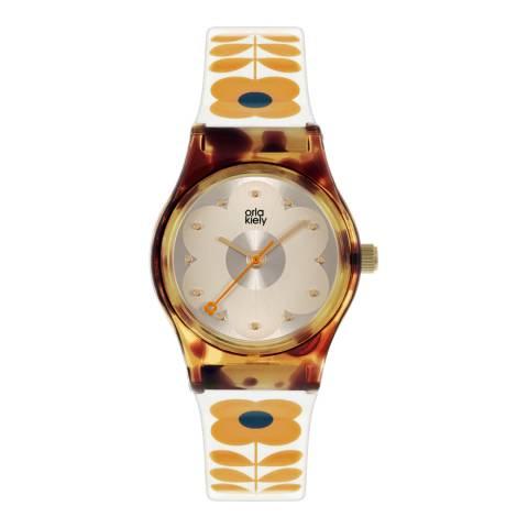 Orla Kiely White Tortoise Plastic Strap Watch