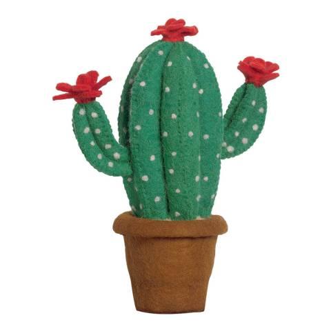 Mr. Fox Green Cactus Flower Felt Wool Deco