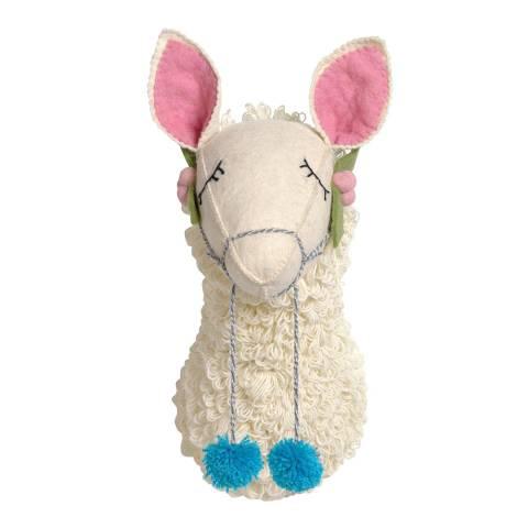 Mr. Fox White Llama Felt Wool Head