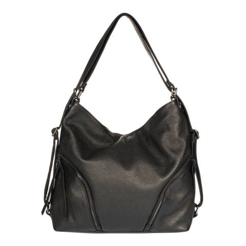 Giulia Massari Black Leather Top Handle Bag