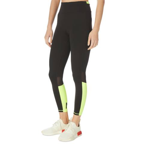 DKNY Black and Green Contrast Logo Tights